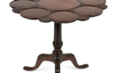 A George III Style Carved Mahogany Tilt-Top Supper
