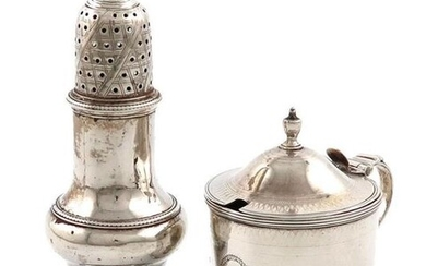 A George III silver mustard pot, by John Emes, London 1798, circular form, engraved decoration, scroll handle, domed cover with an urn finial, engraved with a crest, height 8.5cm, plus a George III silver caster, of baluster form, London 1781, approx...