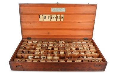 A LATE 19TH CENTURY BOXED ALPHABET SET / TEACHING AIDE