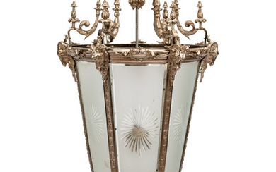 A Large Neoclassical Style Silvered Bronze and Etched Glass Hall Lantern