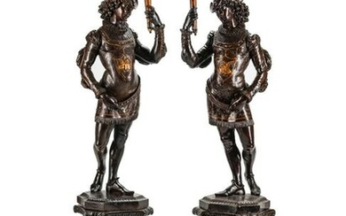 A Large Pair of English Parcel-Gilt and Stained Wood