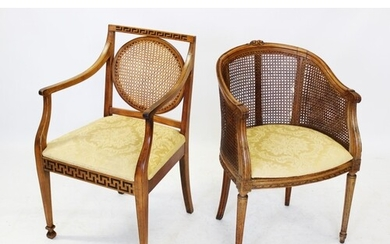 A Louis XV style stained beech wood bergere tub chair, mid 2...