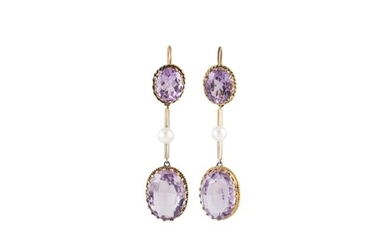 A PAIR OF AMETHYST AND PEARL EARRINGS, each comprising two o...