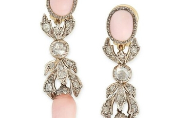A PAIR OF ANTIQUE CONCH PEARL EARRINGS, 19TH CENTURY in