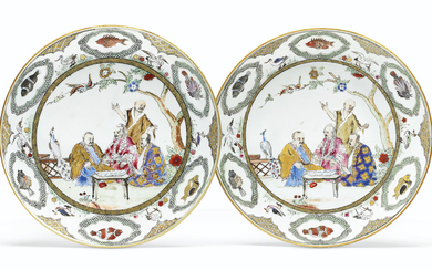 A PAIR OF FAMILLE ROSE 'PRONK DOCTORS' SAUCER DISHES, QIANLONG PERIOD, CIRCA 1738