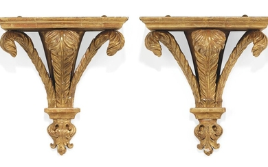 A PAIR OF GEORGE III-STYLE GILTWOOD WALL BRACKETS, MID-20TH CENTURY, POSSIBLY SUPPLIED BY MANN & FLEMING