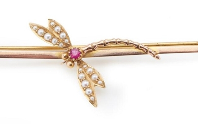 A PEARL AND GEM SET DRAGONFLY BROOCH