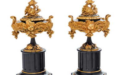 A Pair of French Gilt and Patinated Bronze and Marble Compotes