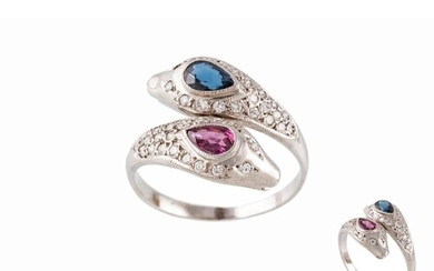 A RUBY, SAPPHIRE AND DIAMOND DRESS RING, of crossover design...