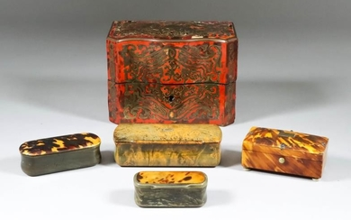 A Red Tortoise Shell Boulle Serpentine Fronted Scent Casket,...