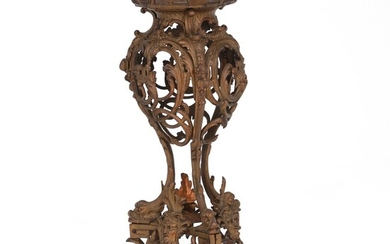 NOT SOLD. A Rococo style bronzed cast iron pedestal. Late 19th century. H. 74 cm....