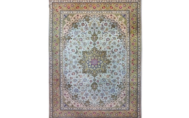 A VERY FINE PART SILK TABRIZ CARPET, NORTH-WEST PERSIA