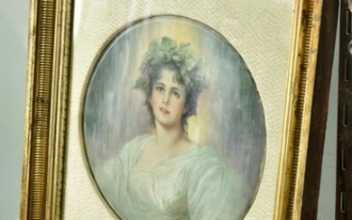 A VERY LARGE HAND PAINTED ANTIQUE PORCELAIN PLAQUE, 'DAPHNE' KPM, UNSIGNED, MOUNTED AND FRAMED IN GILT CARVED FRAME
