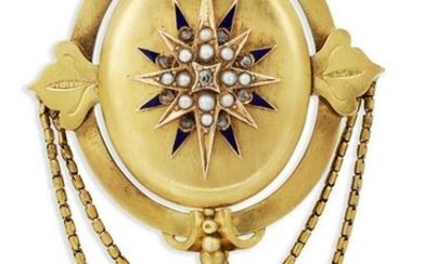 A VICTORIAN 18 CARAT GOLD SEED PEARL, DIAMOND AND