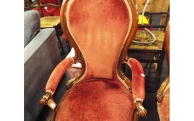 A Victorian French walnut framed spoon back chair with scrol...