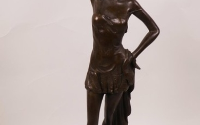 """A bronze figurine of a semi-clad girl on a marble base, 12"""" ..."""