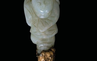 A carved jade figure, China, Qing Dynasty, 1800s
