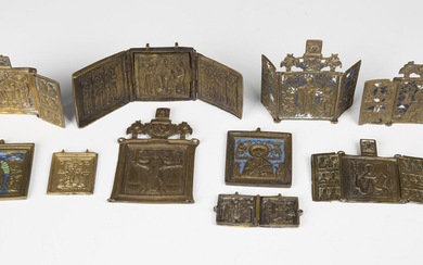 A collection of mainly late 19th century Russian cast brass icons, including two blue enamelled trip