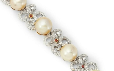 A cultured pearl and diamond bracelet.