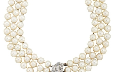 A cultured pearl and diamond necklace, the cultured...