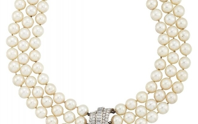 A cultured pearl and diamond necklace, the...
