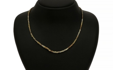 NOT SOLD. A diamond necklace set with numerous fancy-cut diamonds and ball clasp of 14k...