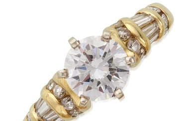 A diamond solitaire centering a round brilliant-cut diamond weighing...