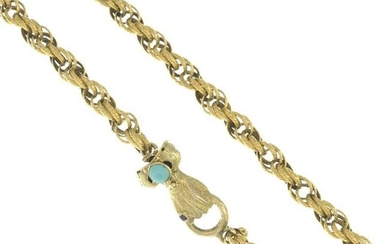 A fancy-link necklace, with a turquoise and ruby