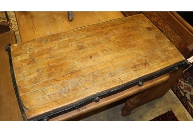 A late 19th century/early 20th century iron bound butcher's ...