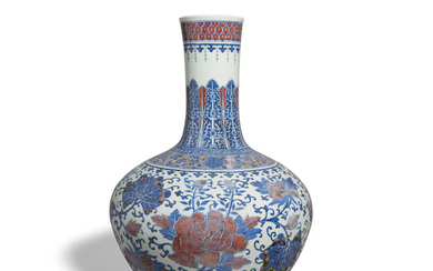 A massive underglaze blue and iron red stick neck vase, Tianqiuping