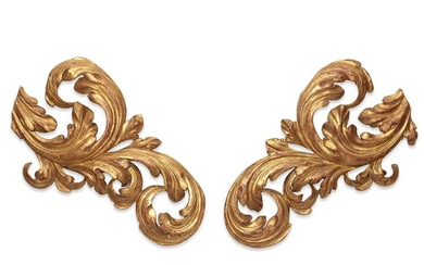 A pair of Baroque style giltwood wall appliques
