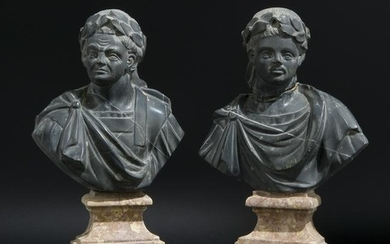 A pair of busts of emperors Tito and Domiziano