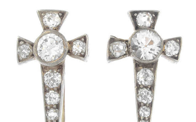 A pair of late 19th century silver and gold, paste and old-cut diamond cross earrings.