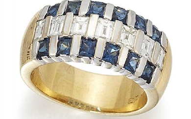 A sapphire and diamond half-hoop ring, the...