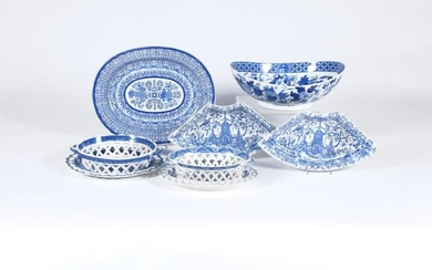A selection of assorted Staffordshire blue and white printed pottery