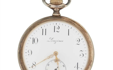 A silver cased pocket watch, Longines