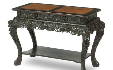 A stained-wood and burrwood topped side table