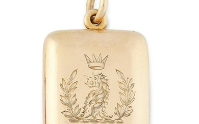 AN ANTIQUE FAMILY LOCKET PENDANT in yellow gold, the