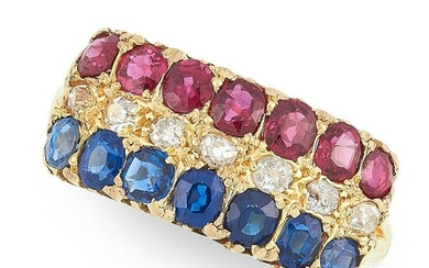 AN ANTIQUE VICTORIAN RUBY, SAPPHIRE AND DIAMOND RING in