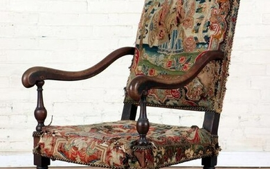 ANTIQUE CONTINENTAL CARVED WALNUT LIBRARY CHAIR