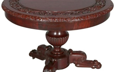American Empire Style Carved Flame Mahogany Table