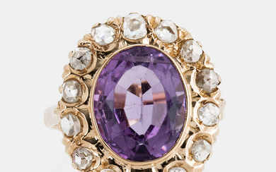 Amethyst and brilliant-cut diamond cocktail ring