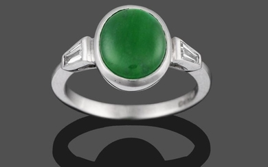 An 18 Carat White Gold Jade and Diamond Ring, the...