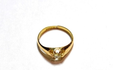 An 18 carat gold old cut diamond solitaire ring, estimated...