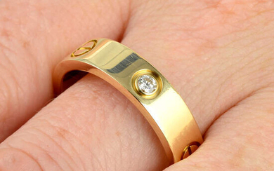An 18ct gold diamond 'Love' ring, by Cartier.