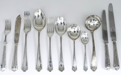 An Elizabeth II Silver Table Service for Eight Place...