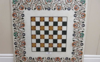 An Indian pietra dura square Table Top with central...