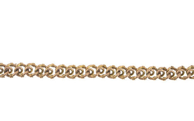 An early 20th century 9ct gold fancy-link chain, with hoop-link terminals.