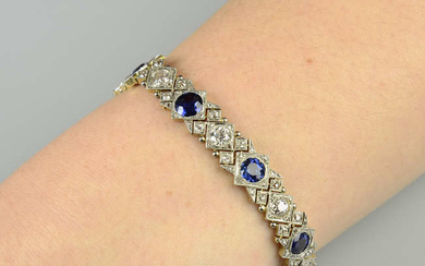 An early 20th century platinum and gold, sapphire and diamond bracelet.