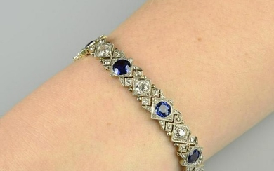 An early 20th century platinum and gold, sapphire and